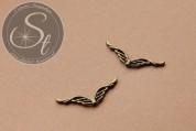 4 Stk. bronzefarbene Flügel-Perlen aus Metall 39mm-20