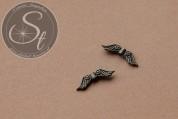 5 Stk. bronzefarbene Flügel-Perlen aus Metall 22mm-20