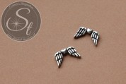5 Stk. antik-silberfarbene Flügel-Perlen aus Metall 18mm-20