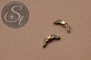 5 Stk. antik-goldfarbene Flügel-Perlen aus Metall 20mm-20