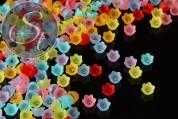 "20 Stk. Acryl-Blüten Mix ""bunte Vielfalt"" frosted 10mm-20"