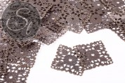 4 Stk. quadratische antik-bronzefarbene filigrane Metallelemente 41,5mm-20