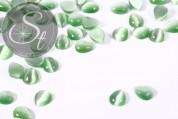 5 Stk. grüne tropfenförmige Cateye Cabochons 10mm-20