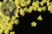 20 Stk. gelbe Acryl-Blüten frosted 15mm-20