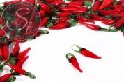10 Stk. handgemachte rote Chili Lampwork Pendants-20