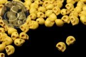 5 Stk. gelbe synthetische Howlith Totenkopf Perlen 9mm-20
