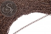 2 Stk. 48cm ovale antik-bronzefarbene Kette 5mm-20